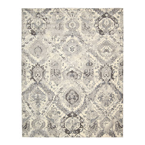 Nourison Twilight Floral Grey and Ivory Rug, 236x297 Cm