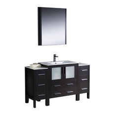 "Torino Bathroom Vanity With 2 Side Cabinets, Espresso, 54"", Integrated Sink"