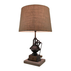 Antique Finish Vintage Coffee Grinder Table Lamp w/Burlap Fabric Shade 20 Inch