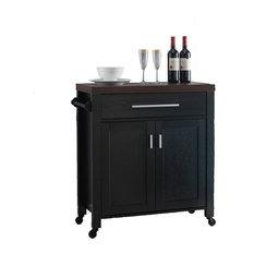 Wine Cart, Dark Walnut and Black