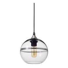 """Unique Optic Contemporary Hand Blown Glass Pendant Light, Shade: Clear, 7"""""""