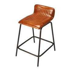 Butler Ludlow Leather and Metal Counter Stool