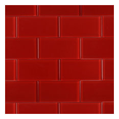 "Contempo 3""x6"" Glass Subway Tile, Lipstick Red"