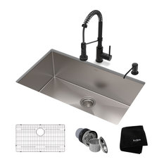 "30"" Undermount Stainless Steel Kitchen Sink, Pull-Down Faucet MB with Dispenser"