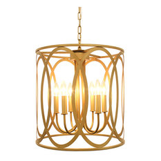 CHATRIE DISTRESSED GOLD DRUM PENDANT CHANDELIER, 18""