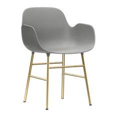 Form Armchair - Metal Legs, Grey_Brass