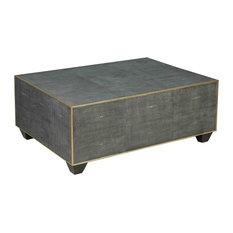 Tom Modern Rustic Rectangular Grey Shagreen Leather Coffee Table