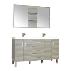 "Ripley 56"" Double Modern Bathroom Vanity Wavy Sink Set With Mirror, Gray"
