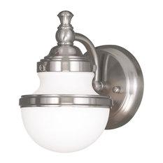 One Light Brushed Nickel Bathroom Sconce