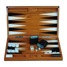"""Deluxe Wood 18"""" Lacquered Backgammon Board Game Set"""