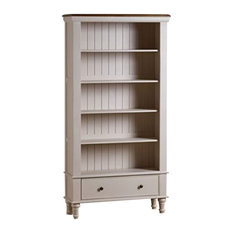 Shay Rustic Solid Oak and Painted Tall 5-Shelf 2-Drawer Bookcase Unit