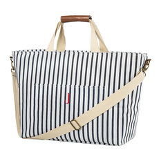 Personalized Striped Large Cooler Tote, Blue, J