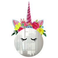 Floral Unicorn Mirror Wall Decals
