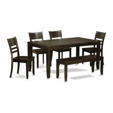 6-Piece Dining Table With Bench-Table With Leaf and 4 Chairs Without Cushion