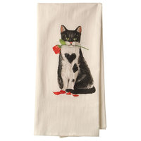 Busy Kitties Tea Towels - Black Cat with Rose Cotton Flour Sack Kitchen Cloth