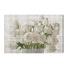 """White Rose Love"" Canvas Art Print, 39x26 cm"