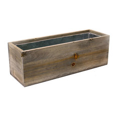 "Natural Wood Rectangle Planter Box With Removable Zinc Liner O-5""X12"" H-4"""