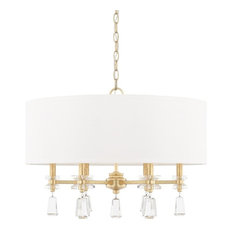 Milan 6-Light Pendant, Capital Gold, White Fabric, Shade Clear