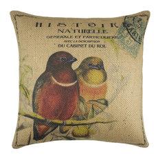 Birds on Branch Burlap Pillow