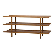 72-inch Long Console Table Solid Wood Teak Dark Brown Finish Modern 3 Shelves