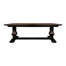 Sofamania   Classic Medieval Rustic Style Large Rectangular Dining Table,  Black   Dining Tables