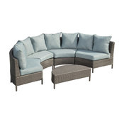 GDF Studio 5-Piece Venice Outdoor 4 Seater Curved Wicker Sectional Sofa Set
