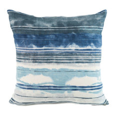 "Stripe Ocean Hand-Printed Linen Pillow, 20""x20"", Case With Insert"