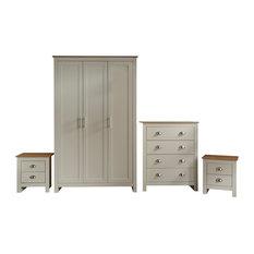 Lancaster 4-Piece Bedroom Set, Cream and Oak