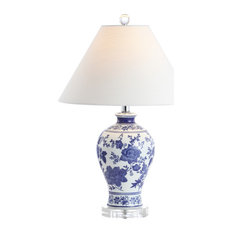 """Song 21.5"""" Ceramic Chinoiserie Floral LED Table Lamp, Blue by JONATHAN  Y"""