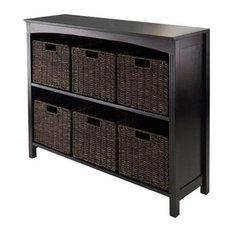 Winsome Terrace 3, Tier Storage Shelf in Dark Espresso with 6 Baskets