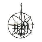 """Dover 5-Light Antique Bronze Vintage Globe Cage Chandelier, 16"""""""