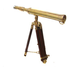 Urban Designs Replica 17th Century Antique Brass and Wood Tabletop Telescope