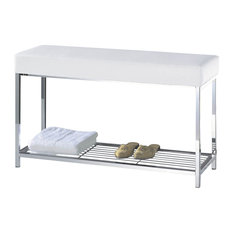 Harmony Bench With Shelf, Chrome With Black or White Top