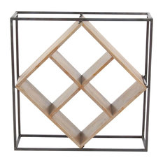 "GwG Outlet Metal Wooden Wine Rack 19""x19"""