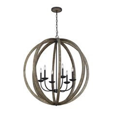 Feiss Allier 6-Light Pendant Chandelier F3186/6WOW/AF, Weathered Oak Wood/Iron