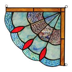 "CHLOE Lighting MEI Victorian Tiffany-glass Window Panel 8"""