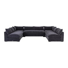 "Gabby Modern Charcoal Grey 5-Piece Armless ""U"" Sectional Sofa"