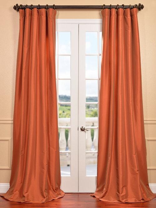 harvest orange faux silk taffeta curtain curtains