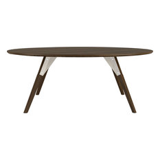 Clarke Round Coffee Table White Small Walnut