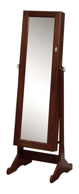 Premium Cherry Cheval Mirror Jewelry Cabinet Armoire Box Stand