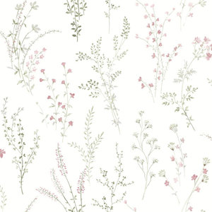 Off White York Wallcoverings Classic Jacobean Floral in Pinks Greens,Tan