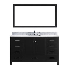 "Virtu Caroline Avenue 60"" Single Bathroom Vanity, Espresso, Mirror"