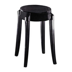 Charles Ghost Stool By Kartell Set Of 2 Glossy Black Small