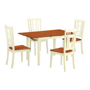 Norfolk 5 Piece Solid Wood Dining Set Buttermilk And Cherry East West  Furniture