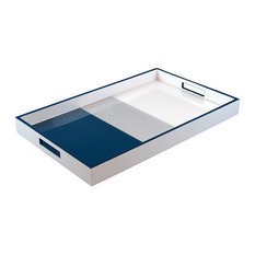 Lacquer Rectangle Tray, Navy Blue, Shine Silver, White