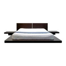King Modern Japanese Style Platform Bed w/ Headboard and 2 Nightstands, Espresso
