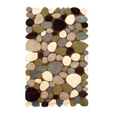 Hand-Carved Stones and Pebbles Wool Rug, Brown, 5'x8'