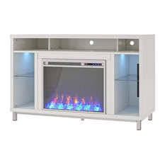 """Cyno Fireplace TV Stand, 48"""", White"""