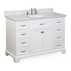 "Kitchen Bath Collection - Aria Bath Vanity, Base: White, Top: Carrara Marble, 48"" - Bathroom Vanities and Sink Consoles"