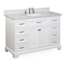 "Aria Bath Vanity, Base: White, 48"", Top: Carrara Marble"